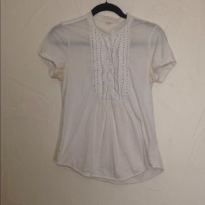 J Crew seed bead half button down shirt